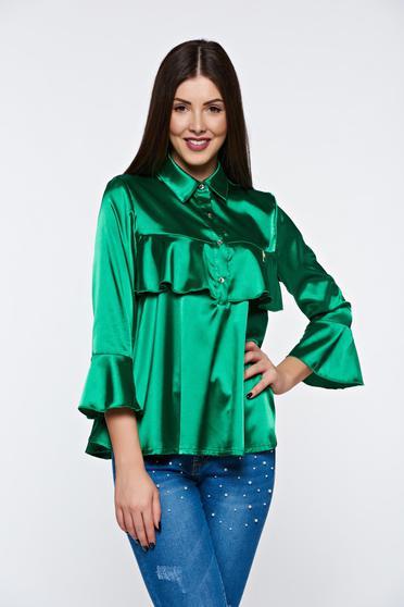 Bluza dama MissQ verde-inchis eleganta cu croi larg din material satinat cu volanase