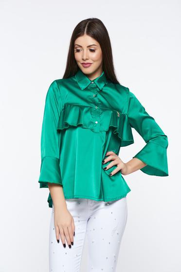 Bluza dama MissQ verde eleganta cu croi larg din material satinat cu volanase