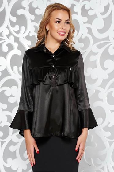 Bluza dama MissQ neagra eleganta cu croi larg din material satinat cu volanase