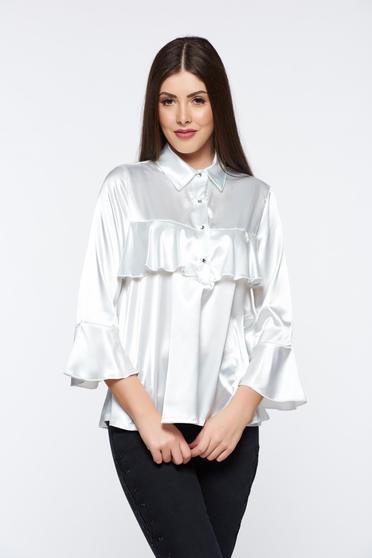 Bluza dama MissQ alba eleganta cu croi larg din material satinat cu volanase