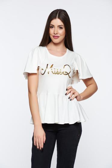 Bluza dama MissQ alba casual din material elastic si fin cu print si volanase
