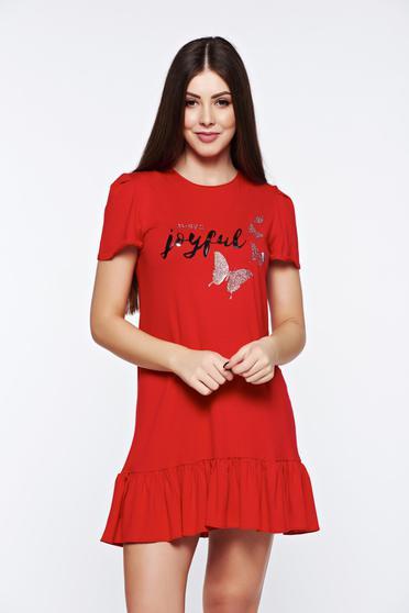 Rochie MissQ rosie casual cu volanase din material elastic si fin cu aplicatii cu sclipici