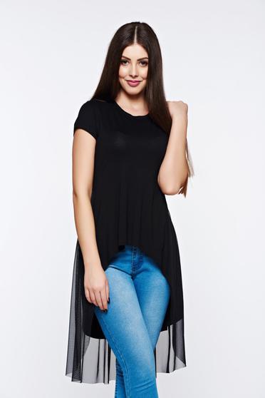 poze cu Tricou MissQ negru casual asimetric din material elastic cu aplicatii de tul