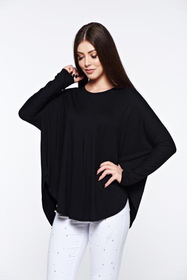 poze cu Bluza dama MissQ neagra casual cu croi larg din material elastic si fin