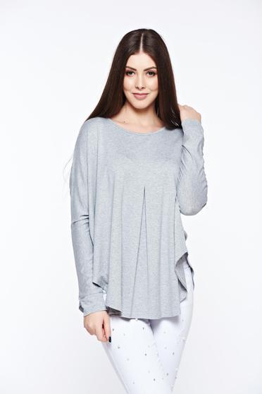 Bluza dama MissQ gri casual cu croi larg din material elastic si fin