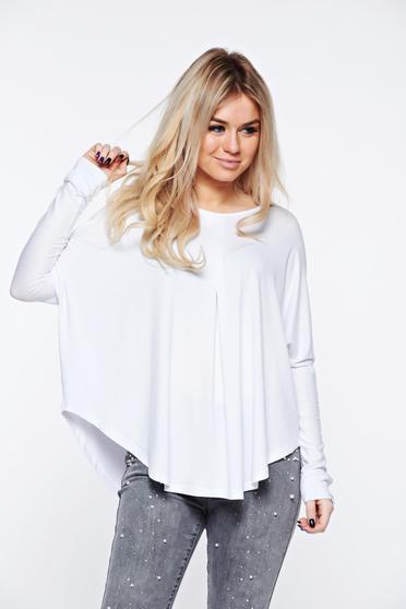 Bluza dama MissQ alba casual cu croi larg din material elastic si fin