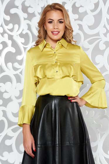 Bluza dama MissQ mustarie eleganta cu croi larg din material satinat cu volanase