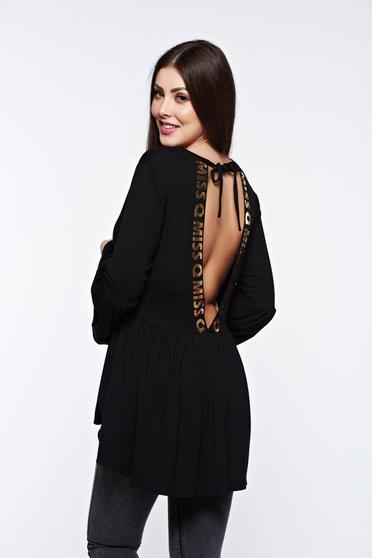 Bluza dama MissQ neagra casual asimetrica cu decolteu in v cu volanase