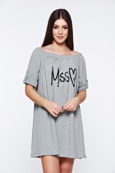 Rochie MissQ gri casual cu croi larg din material elastic cu print