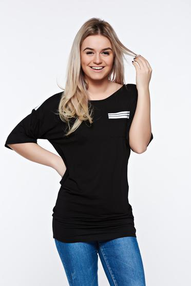 Tricou MissQ negru casual lung din material usor elastic