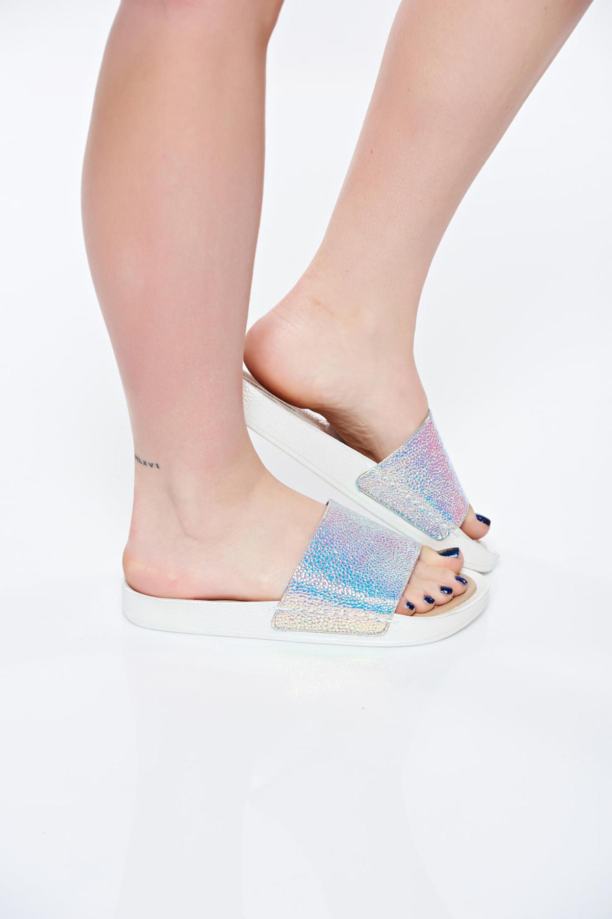 Papuci Missq Albe Casual Din Piele Naturala Cu Talpa Usoara