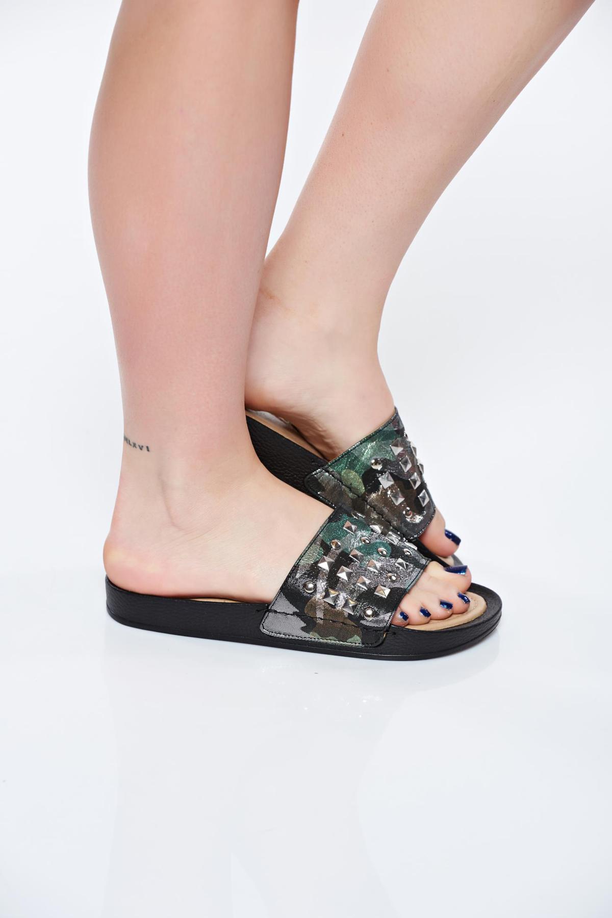Papuci Missq Negri Casual Din Piele Naturala Cu Talpa Usoara