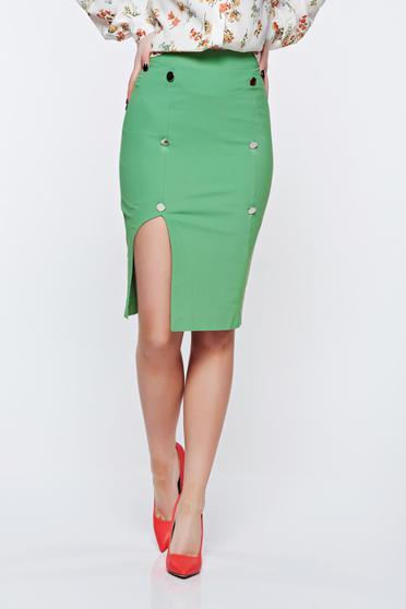 Fusta PrettyGirl verde office tip creion cu talie inalta captusita pe interior