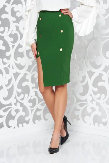 Fusta PrettyGirl verde-inchis office tip creion cu talie inalta captusita pe interior