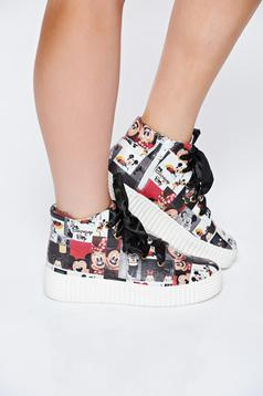 Pantofi sport MissQ negru casual din piele naturala cu print cu talpa usoara cu siret