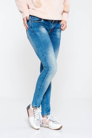 Blugi MissQ albastri casual skinny cu talie medie din bumbac cu buzunare