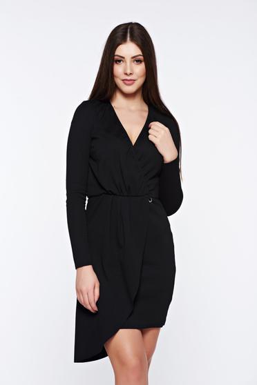 Rochie PrettyGirl neagra de zi asimetrica din bumbac cu elastic in talie