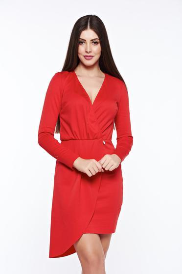 Rochie PrettyGirl rosie de zi asimetrica din bumbac cu elastic in talie