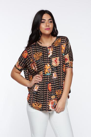 Bluza dama MissQ neagra office cu croi larg asimetrica din material elastic
