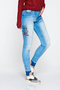 Blugi MissQ albastri casual skinny din bumbac elastic cu talie medie