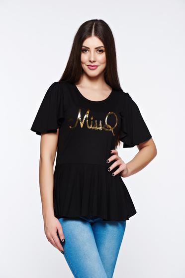 Bluza dama MissQ neagra casual din material elastic si fin cu print si volanase