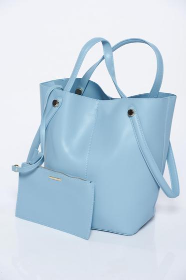 Geanta dama Top Secret albastra-deschis casual din piele ecologica accesorizata cu plic