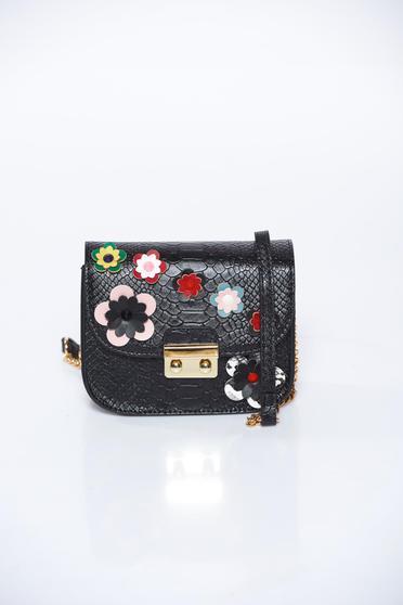 Geanta dama Top Secret neagra casual din piele ecologica cu imitatie de sarpe cu aplicatii florale