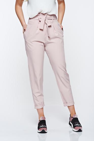 Pantaloni SunShine rosa casual cu talie inalta din material usor elastic cu buzunare