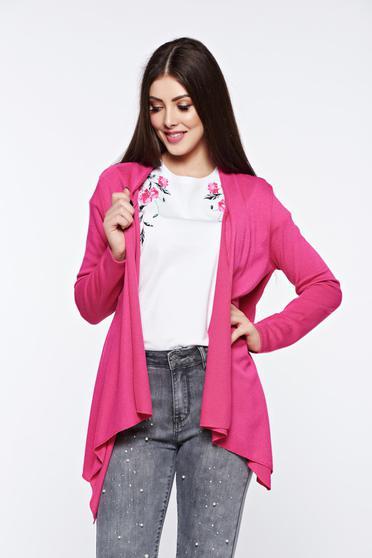 poze cu Cardigan roz asimetric cu croi larg cu maneci lungi