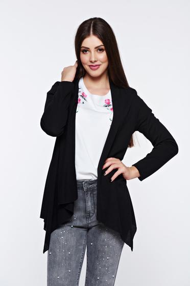 Cardigan negru asimetric cu croi larg cu maneci lungi