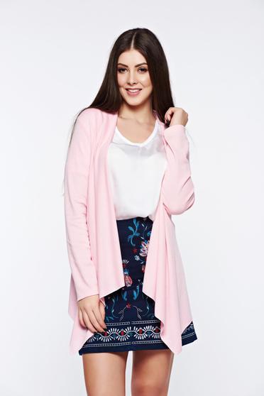 poze cu Cardigan rosa asimetric cu croi larg cu maneci lungi