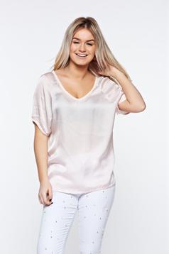 Tricou rosa casual asimetric cu croi larg din material satinat