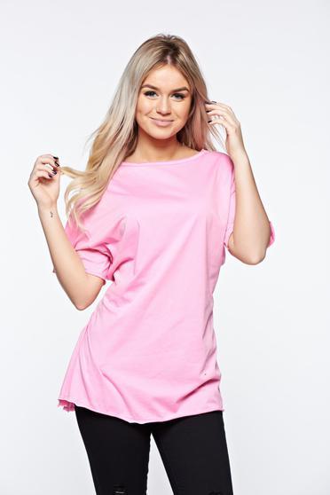 Tricou roz casual din bumbac elastic cu croi larg accesorizat cu snur