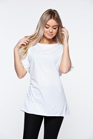 Tricou alb casual din bumbac elastic cu croi larg accesorizat cu snur