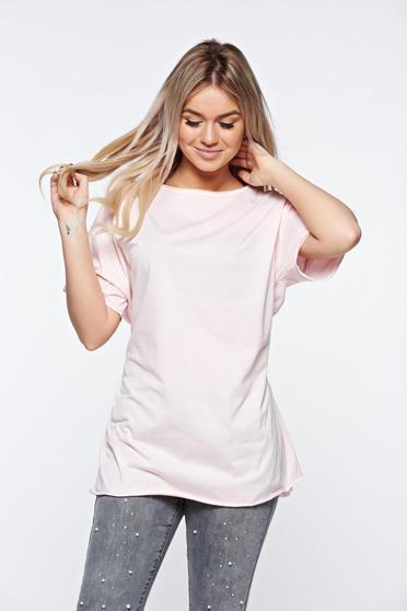 Tricou rosa casual din bumbac elastic cu croi larg accesorizat cu snur