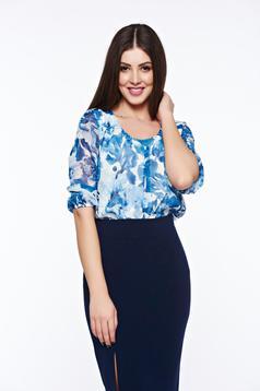 Bluza dama LaDonna albastra eleganta cu croi larg din material vaporos cu decolteu rotunjit