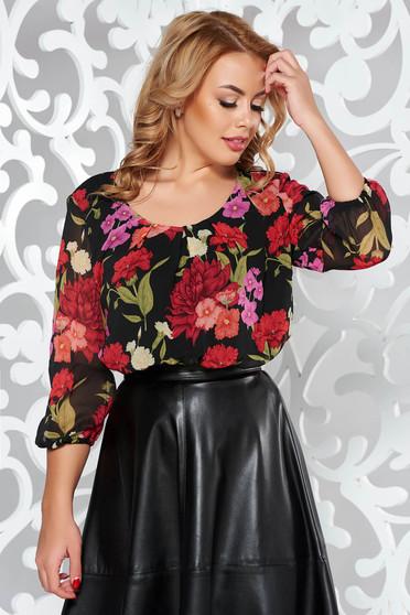 Bluza dama LaDonna neagra eleganta cu croi larg din material vaporos cu decolteu rotunjit