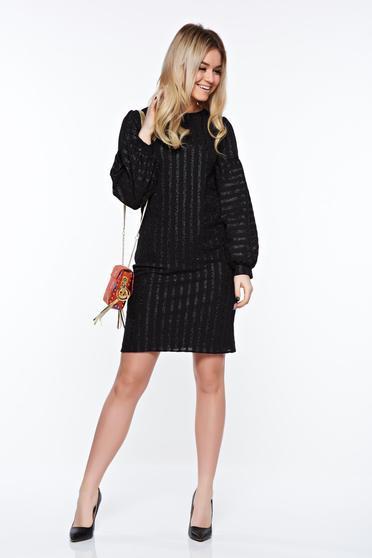Rochie StarShinerS neagra eleganta din material usor elastic captusita pe interior cu maneci bufante
