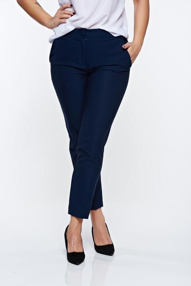 Pantaloni Artista albastri-inchis office conici cu talie medie cu buzunare