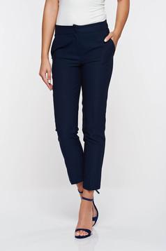 Pantaloni Artista albastri-inchis office conici cu talie medie din stofa usor elastica cu buzunare
