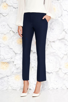 Pantaloni Artista albastri-inchis office cu un croi drept cu talie medie din stofa usor elastica cu buzunare