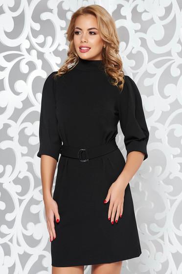 Rochie Artista neagra eleganta din material elastic cu maneci bufante accesorizata cu cordon