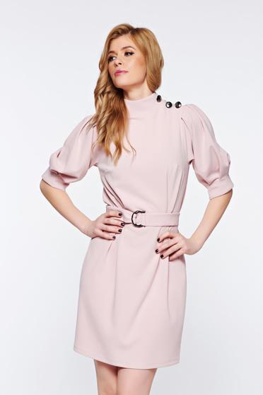 Rochie Artista rosa eleganta din material elastic cu maneci bufante accesorizata cu cordon