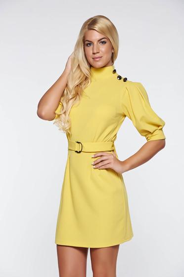 Rochie Artista galbena eleganta din material elastic cu maneci bufante accesorizata cu cordon