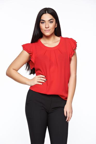 Bluza dama LaDonna rosie eleganta cu croi larg din material vaporos si transparent