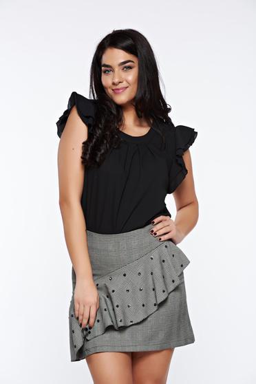 Bluza dama LaDonna neagra eleganta cu croi larg din material vaporos si transparent
