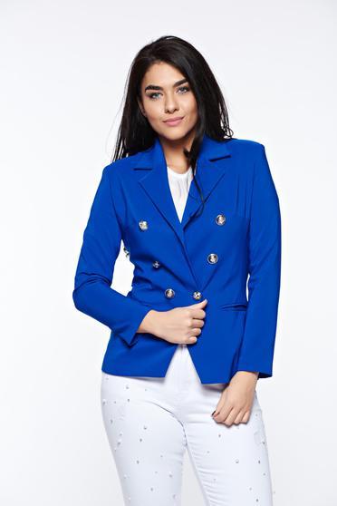 Sacou LaDonna albastru office cambrat din stofa subtire usor elastica captusit pe interior