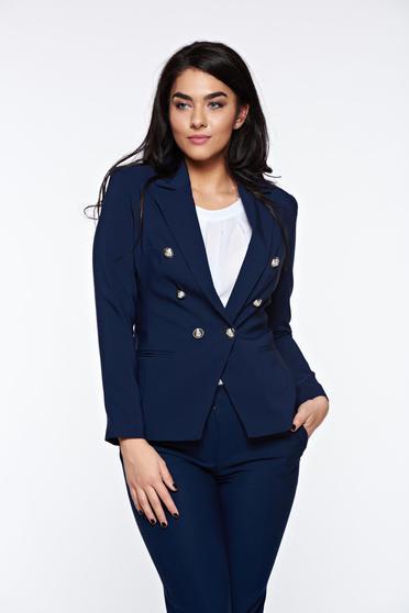 Sacou LaDonna albastru-inchis office cambrat din stofa subtire usor elastica captusit pe interior