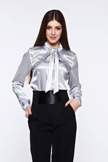 Bluza dama StarShinerS gri eleganta cu croi larg din material satinat