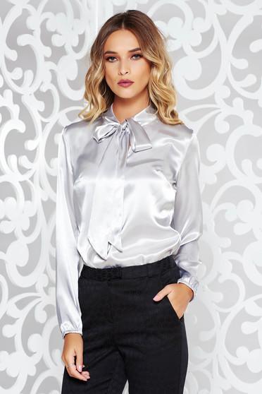 Bluza dama StarShinerS gri eleganta cu croi larg din material satinat cu maneci lungi